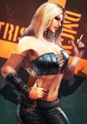 1girl absurdres bare_shoulders belt black_nails black_pants blonde_hair breasts character_name choker cigarette devil_may_cry devil_may_cry_5 hand_on_hip highres long_hair looking_at_viewer monori_rogue nail_polish navel pants smoke solo standing stomach strapless trish_(devil_may_cry) tubetop upper_body