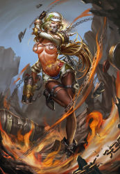 1girl action armor badge bangs bare_shoulders beret black_shoes blcat4444 blonde_hair blue_shorts blue_sky breasts breasts_apart brown_eyes brown_gloves brown_legwear button_badge chains contrapposto covered_mouth detached_sleeves elbow_pads explosion face_mask fire full_body fur_trim gas_mask genderswap genderswap_(mtf) gloves grappling_hook green_hair gun hand_up handgun harness hat high_heels highleg highleg_panties highres holding holding_gun holding_weapon leg_belt leg_up long_hair long_sleeves mask medium_breasts midriff multicolored_hair navel nose_piercing one_leg_raised outdoors overwatch panties pantyhose pauldrons piercing pig_tattoo red_panties revealing_clothes roadhog_(overwatch) shoes short_shorts shorts shoulder_pads shoulder_spikes sky solo spikes standing standing_on_one_leg stomach_tattoo strap streaked_hair string_panties tattoo thigh_gap thigh_strap thighhighs tire two-tone_hair underwear weapon white_hat