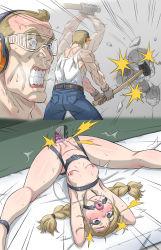 1boy 1girl bdsm bondage bound braid father_and_daughter ha_ku_ronofu_jin highres insemination predicament_bondage sledgehammer text_focus twin_braids