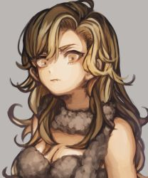 1girl asukichi_(h-asumint) ayla_(chrono_trigger) bangs bare_shoulders blonde_hair breasts brown_eyes chrono_trigger cleavage closed_mouth fang fang_out grey_background highres long_hair looking_at_viewer medium_breasts scarf solo upper_body
