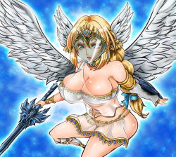 1041_(toshikazu) 1girl angel_wings areola_slip areolae blonde_hair blue_eyes bra elysium mask miniskirt skirt solo soul_calibur soulcalibur soulcalibur_v underwear wings