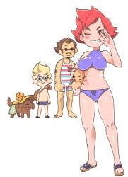 1girl 2boys ;) bag blonde_hair blush boney breasts brown_hair child dog doseisan duster_(mother) facial_hair flower full_body glasses goggles hat inkerton-kun kumatora lucas mother_(game) mother_3 multiple_boys navel pink_hair sandals short_hair simple_background smile sunglasses swimsuit tail tongue tongue_out whiskers white_background rating:Safe score:20 user:Wesley107772