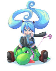 blue_eyes blue_hair collar crossover detached_sleeves femdom hatsune_miku headphones kty_(04) kty_(pixiv) leash long_hair mario_(series) necktie nintendo skirt super_mario_bros. sweat thighhighs tongue twintails very_long_hair vocaloid yoshi rating:Safe score:9 user:danbooru