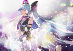1girl 2019 ^_^ armband arms_at_sides artist_name bangs bare_shoulders blue_hair blurry blurry_foreground bokeh bow bowtie breasts buttons character_name chris4708 closed_eyes commentary_request dark_background dated depth_of_field detached_sleeves eyes_closed floating_hair frilled_skirt frills hair_between_eyes hands_on_lap happy happy_birthday hat hatsune_miku heart light_particles long_hair magical_mirai_(vocaloid) medium_breasts mini_hat mini_top_hat parted_lips pink_neckwear pink_ribbon polka_dot purple_background ribbon simple_background single_detached_sleeve skirt smile solo star strapless top_hat twintails upper_body very_long_hair vocaloid white_background white_headwear white_skirt