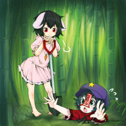 2girls :3 =3 animal_ears arms_up bamboo bare_arms bare_legs barefoot beret black_eyes black_hair bunny_ears carrot carrot_necklace chin_rest closed_mouth day dress fang floppy_ears flying_sweatdrops hand_rest hands_up hat head_rest hole inaba_tewi jakomurashi jiangshi looking_at_another looking_down looking_up miyako_yoshika multiple_girls ofuda open_mouth outdoors outstretched_arms outstretched_hand pink_dress puffy_short_sleeves puffy_sleeves red_eyes shirt short_dress short_hair short_sleeves shovel sigh standing star toes touhou