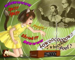 1boy 2girls anger_vein angry animal_ears bad_id brown_hair cat_ears colored_text dress english_text fang instrument kneeling leon_theremin lydia_kavina mary_janes moog multiple_girls musical_note old_man outstretched_arm playing_instrument shoes short_hair skirt skyape socks theremin yellow_dress yellow_eyes yellow_skirt