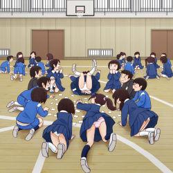 6+boys 6+girls blue_skirt child kiyo_(kyokyo1220) multiple_boys multiple_girls original panties pleated_skirt skirt striped striped_panties surprised underwear upskirt white_panties rating:Safe score:21 user:Gaudy