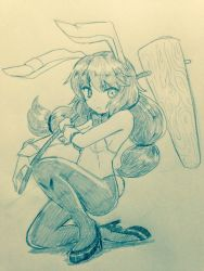 >:< 1girl :< alternate_costume bangs bare_arms bare_shoulders blush bow bowtie breasts bunny_girl bunny_tail closed_mouth commentary_request ear_clip efukei eyebrows_visible_through_hair full_body high_heels holding kine long_hair looking_at_viewer monochrome one_knee pantyhose seiran_(touhou) small_breasts solo tail touhou traditional_media twintails wrist_cuffs