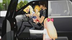 1boy 3d 3girls age_difference animated animated_gif black_legwear blonde_hair car car_interior censored clothed_sex ground_vehicle hetero loli motor_vehicle multiple_girls penis ponchi school_uniform sex skirt tagme thighhighs twintails uncensored vaginal vehicle rating:Explicit score:34 user:loliadicktion