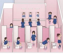 6+girls bathroom brown_hair cellphone from_above indoors kiyo_(kyokyo1220) mirror multiple_girls on_toilet school_uniform sink toilet rating:Questionable score:11 user:Yanderecs