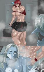 abs animal_cock blue_skin elf female_muscle futa_on_girl futanari highres muscle muscular_female muscular_thighs pointy_ears red_hair sabas sabas_caelus skyrim tes uncensored