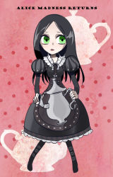 007_(pixiv295076) 1girl alice:_madness_returns alice_(wonderland) alice_in_wonderland american_mcgee's_alice bad_id black_hair dress english female full_body green_eyes long_hair solo teapot