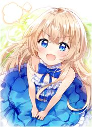10s 1girl angry bangs bare_arms bare_shoulders blonde_hair blue_bow blue_dress blue_eyes blush bow collarbone commentary_request dress eyebrows_visible_through_hair fangs fukunoki_tokuwa hair_between_eyes highres long_hair looking_at_viewer open_mouth solo strapless strapless_dress takanashi_misha uchi_no_maid_ga_uzasugiru! v-shaped_eyebrows very_long_hair