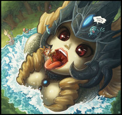 4girls fizz_(league_of_legends) forehead_protector giantess janna_windforce karbo league_of_legends lips looking_up lulu_(league_of_legends) mermaid monster_girl multiple_girls nami_(league_of_legends) open_mouth pool_party_ziggs red_eyes saliva sarah_fortune staff tongue tongue_out tree uvula vore water ziggs rating:Safe score:55 user:danbooru