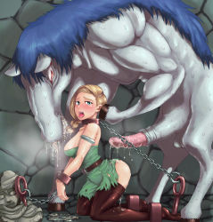 1girl ass bdsm belt bestiality bianca blonde_hair blush bondage boots bound braid breasts breath chains collar cuffs cum doggystyle dragon_quest dragon_quest_v feet green_eyes hero_(dq5) horse horse_penis huge_penis indoors interspecies jami jyami kneeling large_breasts long_hair misonou_hirokichi monster open_mouth penis rape saliva shackles single_braid size_difference statue steam tears teeth thighhighs tongue tongue_out torn_clothes rating:Explicit score:268 user:danbooru