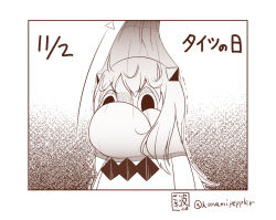 collar comic commentary_request date_pun dated horns kantai_collection long_hair looking_at_viewer monochrome muppo northern_ocean_hime pantyhose pantyhose_on_head pointer sazanami_konami tights_day translated twitter_username upper_body