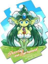 ^_^ ^o^ artist_name bare_arms bikini_top blue_eyes blue_sky blush breasts cleavage closed_eyes closed_mouth cloud dark_skin day english_text eyes_closed fins forehead_jewel gem giant giantess giga_mermaid green_hair green_skin happy head_fins highres jewelry large_breasts long_hair looking_at_viewer mermaid midriff monster_girl navel ocean partially_submerged pointy_ears ponytail purple_hair seashell_bra shantae:_half-genie_hero shantae_(character) shantae_(series) shell shell_bikini sitting sitting_on_breasts sky smile stomach text_focus upper_body very_long_hair rating:Safe score:35 user:danbooru