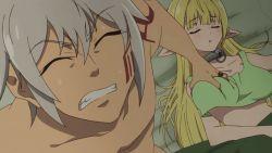 10s 1boy 1girl animated animated_gif bed bedroom blonde_hair breast_grab breasts cleavage collar deep_skin diablo_(isekai_maou_to_shoukan_shoujo_dorei_majutsu) elf grabbing groping horns huge_breasts indoors isekai_maou_to_shoukan_shoujo_dorei_majutsu long_hair metal_collar no_bra on_bed pillow pointy_ears shera_l_greenwood sleeping sweat waking_up rating:Questionable score:12 user:edward91