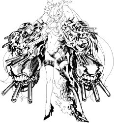 1girl armor armored_boots boots burning_armor claws cosmic_bear crotch_plate full_body hair_censor hair_over_one_eye high_heel_boots high_heels horns kantai_collection legs long_hair looking_at_viewer mechanical_arms shinkaisei-kan sidelocks simple_background single_boot sketch solo southern_ocean_war_hime teeth thigh_boots thigh_strap thighhighs topless turret twintails very_long_hair white_background