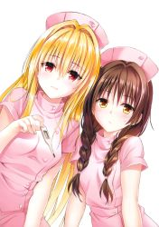 2girls absurdres blonde_hair braid brown_hair hat highres konjiki_no_yami long_hair looking_at_viewer multiple_girls nurse nurse_cap official_art red_eyes simple_background sweatdrop to_love-ru twin_braids yabuki_kentarou yellow_eyes yuuki_mikan rating:Safe score:14 user:danbooru