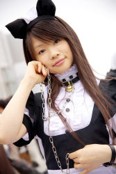 animal_ears apron cat_ears collar cosplay highres leash maid maid_apron photo pochi_(model) rating:Safe score:2 user:Anonymous
