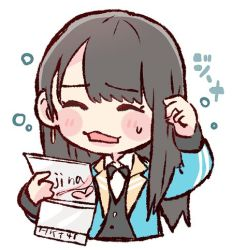 1girl :3 bangs black_hair black_neckwear blue_jacket blush_stickers bow bowtie character_name chibi earrings hkt48 holding jacket jewelry kojina_yui long_hair long_sleeves lowres open_mouth real_life scratching_head simple_background solo sweatdrop taneda_yuuta upper_body white_background