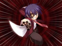 11eyes 1boy blonde_hair blue_eyes eyepatch kengou satsuki_kakeru school_uniform solo sword weapon