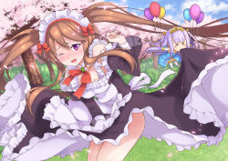 >_< 2girls :> apron balloon black_dress blue_dress blush boots bow breasts brooch brown_hair bush cherry_blossoms chibi covering covering_crotch day detached_collar detached_sleeves dress dutch_angle eyebrows_visible_through_hair eyes_closed frilled_apron frills grass hair_between_eyes highres jewelry lavender_hair long_hair long_sleeves maid maid_headdress medium_breasts moonhackle mouth_hold multiple_girls myucel_foalan neck_ribbon one_eye_closed open_mouth outbreak_company outdoors outstretched_arms petals petralka_anne_eldant_iii pointy_ears purple_eyes red_bow red_ribbon ribbon sidelocks spread_arms strapless strapless_dress tears thigh_boots thighhighs tiara tree twintails white_boots wind