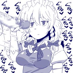 1girl amazon_(taitaitaira) bow braid breasts censored deadpan erection expressionless gloves hair_bow handjob hetero izayoi_sakuya jitome maid_headdress monochrome penis precum solo_focus testicles touhou translation_request twin_braids rating:Explicit score:8 user:danbooru