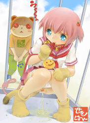 bdsm blush bondage bound cage candy censored collar gloves hair_ornament hairclip humiliation leash lollipop mouth_hold outdoors panties panty_pull peeing school_uniform sekihan short_hair squatting tail underwear voyeurism rating:Questionable score:29 user:loli_and_pee