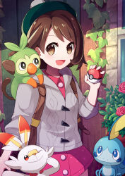 1girl :d :o ;) backpack bag bangs blue_eyes blush bob_cut brown_bag brown_eyes brown_hair cardigan closed_mouth coconat_summer commentary_request cowboy_shot creatures_(company) doors dress eyebrows eyebrows_visible_through_hair female_protagonist_(pokemon_swsh) flower game_freak gen_8_pokemon green_hat grey_cardigan hair_ornament hat highres holding holding_poke_ball long_sleeves looking_at_viewer nintendo one_eye_closed open_mouth outdoors pink_dress plant poke_ball poke_ball_(generic) pokemon pokemon_(creature) pokemon_(game) pokemon_swsh short_hair smile tam_o'_shanter vines window