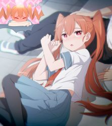 1boy 1girl bangs black_legwear black_pants blue_skirt blurry blurry_background blush brown_hair commentary_request depth_of_field eyebrows_visible_through_hair fang fingernails full-face_blush hair_between_eyes hands_up haribote_(tarao) imagining lap_pillow long_hair lying on_side open_mouth out_of_frame pants pantyhose petting pleated_skirt red_eyes red_neckwear shirt shoes short_sleeves sitting skirt solo_focus steam tanaka_(ueno-san_wa_bukiyou) twintails ueno-san_wa_bukiyou ueno_(ueno-san_wa_bukiyou) uwabaki very_long_hair white_footwear white_shirt rating:Safe score:5 user:danbooru