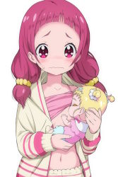10s 2girls baby bangs beige_jacket beige_pants blonde_hair blush breast_feeding camisole camisole_lift closed_mouth collarbone commentary eyes_closed fingernails holding hug-tan_(precure) hugtto!_precure jacket kimagure_blue long_hair low_twintails multiple_girls navel nono_hana nose_blush open_clothes open_jacket pants pink_camisole precure purple_eyes purple_hair revision simple_background sweat twintails two_side_up wavy_mouth white_background rating:Safe score:9 user:danbooru