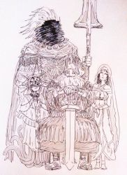 1girl 3boys anklet armor atakabouchi barefoot beard breasts cleavage crown dark_souls dark_souls_iii dark_sun_gwyndolin facial_hair family full_body gradient gradient_background gwyn_lord_of_cinder helmet jewelry large_breasts long_hair mask monochrome multiple_boys nameless_king polearm queen_of_sunlight_gwynevere robe short_hair smile souls_(from_software) spear spoilers sword veil weapon white_background