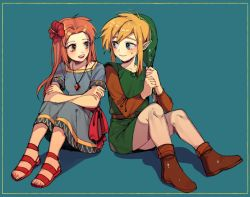 1boy 1girl blonde_hair blue_eyes brown_hair dress flower hair_flower hair_ornament hat jewelry link long_hair marin_(the_legend_of_zelda) necklace nintendo open_mouth pointy_ears red_hair simple_background smile the_legend_of_zelda the_legend_of_zelda:_link's_awakening zelda_timit