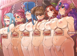 6+girls arms_behind_back auction bangs bdsm blue_eyes blue_hair blush bondage bound breasts brown_eyes brown_hair chains circlet clenched_teeth collar dragon_quest dragon_quest_iii earrings empty_eyes female fighter_(dq3) glasses green_eyes hat helmet inverted_nipples jewelry large_breasts lineup loincloth long_hair mage_(dq3) merchant_(dq3) mimonel mitre multiple_girls navel nipples price_tag priest_(dq3) purple_eyes purple_hair red_eyes red_hair sage_(dq3) sale scar slave slave_auction small_breasts soldier_(dq3) standing sweat tears teeth topless witch_hat rating:Questionable score:174 user:danbooru