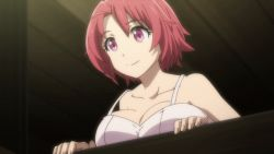 10s 1girl animated animated_gif bare_shoulders bouncing_breasts bra breast_rest breasts cleavage cow_girl_(goblin_slayer!) goblin_slayer! large_breasts open_mouth purple_eyes red_hair short_hair smile solo underwear white_bra window rating:Safe score:68 user:Perv-Ultra
