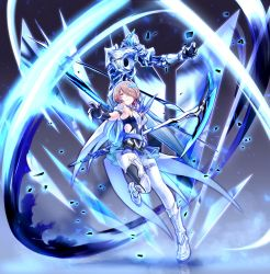 1girl armor armored_dress bangs bare_shoulders belt black_gloves blue_legwear breasts detached_collar elbow_gloves full_body gloves grey_hair hair_ornament hair_over_one_eye hand_up highres holding holding_scythe honkai_(series) honkai_impact_3 large_breasts light_particles looking_at_viewer mole mole_under_eye red_eyes rita_rossweisse rita_rossweisse_(artemis) scythe shinachiku_(uno0101) short_hair sidelocks smile thighhighs weapon
