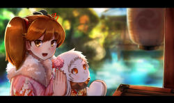 >:< 2girls :d alternate_costume blurry brown_eyes brown_hair closed_mouth commentary_request depth_of_field fang hair_ornament highres horns japanese_clothes kantai_collection kimono mittens multiple_girls northern_ocean_hime okitsugu open_mouth orange_eyes praying revision ryuujou_(kantai_collection) shinkaisei-kan smile twintails upscaled white_hair white_skin