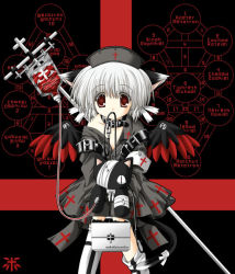 1girl animal_ears bandage blood cat cat_ears cat_tail collar cross dark gothic hat leash mouth_hold nekoneko nurse red_eyes short_hair stuffed_animal stuffed_toy tail vampire white_hair wings rating:Safe score:7 user:danbooru