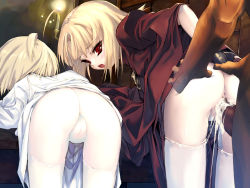 2girls anus ass ass_grab bent_over blonde_hair blush bottomless character_request cum cum_in_pussy cumdrip flat_chest highres hitomaru loli looking_back multiple_girls nil-eve pussy pussy_juice red_eyes sex source_request thighhighs uncensored vaginal white_legwear rating:Explicit score:163 user:huzzaman