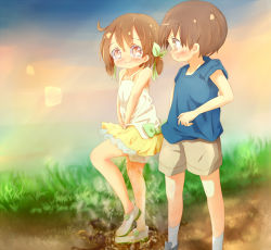 1boy 1girl 22m b_arms bangs bare_shoulders between_legs blue_footwear blue_shirt blush bow brown_hair brown_shorts child collarbone embarrassed eye_contact eyebrows_visible_through_hair flat_chest full_body grass green_bow green_footwear green_ribbon hair_ribbon hand_between_legs hands_together have_to_pee leg_up loli looking_at_another matching_hair/eyes miniskirt nose_blush original outdoors peeing peeing_self puddle ribbon see-through shiny shiny_hair shirt shoes short_hair short_sleeves short_twintails shorts skirt sleeveless sleeveless_shirt socks spaghetti_strap standing standing_on_one_leg steam sweat tears twintails wavy_mouth wet wet_clothes white_legwear white_shirt yellow_skirt rating:Questionable score:6 user:AngryZapdos