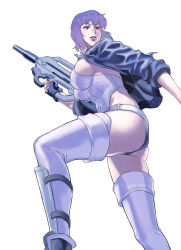 1girl ass azasuke boots breasts ghost_in_the_shell gun highres kusanagi_motoko leotard lips long_hair medium_breasts parted_lips purple_hair sideboob simple_background solo submachine_gun suppressor thigh_boots thighhighs thighs weapon white_background white_legwear rating:Safe score:22 user:danbooru