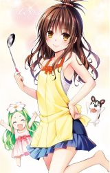 10s 2girls :d ^_^ apron arms_up bare_shoulders barefoot brown_eyes brown_hair celine copyright_name dog eyes_closed feet flower flower_on_head green_hair hair_bobbles hair_ornament hand_on_hip highres ladle long_hair looking_at_viewer marron_(to_love-ru) multiple_girls official_art open_mouth outstretched_arms smile to_love-ru to_love-ru_darkness yabuki_kentarou yuuki_mikan rating:Safe score:13 user:danbooru