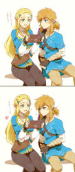 1boy 1girl blonde_hair blue_eyes blush breasts couple gloves hair_ornament highres link long_hair pointy_ears ponytail princess_zelda saiba_(henrietta) smile the_legend_of_zelda the_legend_of_zelda:_breath_of_the_wild translation_request white_background
