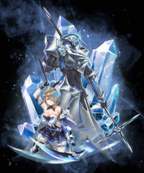 1girl armor armored_dress armored_gloves bangs bare_shoulders belt black_gloves blue_legwear blurry blurry_background boots breasts cleavage detached_collar dress elbow_gloves full_body glint gloves gotointhepark greaves grey_hair hair_ornament hair_over_one_eye highres holding holding_scythe honkai_(series) honkai_impact_3rd kneeling knight large_breasts layered_dress looking_at_viewer no_bra pleated_dress polearm rita_rossweisse rita_rossweisse_(artemis) sapphire_(gemstone) scythe short_dress short_hair sidelocks skindentation smirk snowflakes solo strapless strapless_dress thigh_boots thighhighs weapon