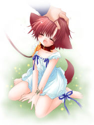 1girl animal_ears blush collar dog_ears dog_tail dress eyes_closed fang hinata_(pure_pure) leash petting pure_pure red_eyes red_hair ribbon sakurazawa_izumi solo_focus sundress tail rating:Safe score:9 user:danbooru