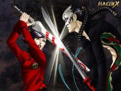 1999 1boy 1girl 90s artist_name black_hair braid clash clenched_teeth kazuma_kaneko maken_x mask official_art orange_eyes ponytail sagami_kei sword teeth weapon