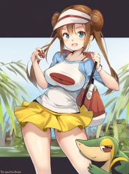 1girl :d aymusk bag bangs blue_shirt blush bra_strap breasts closed_mouth contrapposto creatures_(company) dress game_freak gen_5_pokemon highres holding holding_poke_ball impossible_clothes impossible_shirt large_breasts long_hair looking_at_viewer mei_(pokemon) miniskirt nintendo no_legwear open_mouth outside_border plant pleated_skirt poke_ball poke_ball_(generic) poke_ball_print pokemon pokemon_(creature) pokemon_(game) pokemon_bw2 print_shirt raglan_sleeves red_eyes shirt short_sleeves shoulder_bag sidelocks skirt smile smug snivy standing tareme twintails visor_cap white_headwear white_shirt yellow_skirt