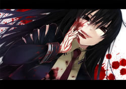 1girl amou_kirukiru black_eyes black_hair blood blood_on_face blood_splatter bloody_clothes bloody_hands busou_shoujo_machiavellism dutch_angle hair_between_eyes kanzaki_karuna licking_lips long_hair looking_at_viewer necktie official_art red_necktie tongue tongue_out torn_clothes